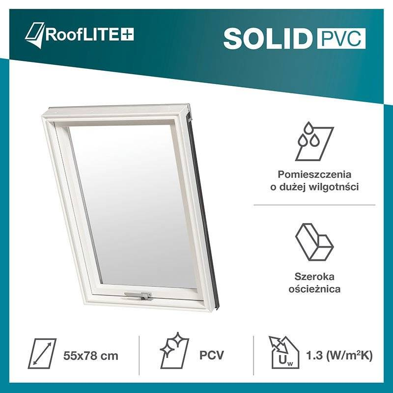 Okno dachowe RoofLITE+ Solid PVC 55x98